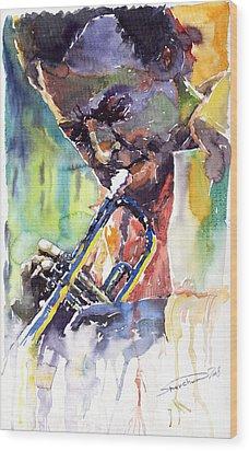 Jazz Miles Davis 9 Blue Wood Print by Yuriy  Shevchuk