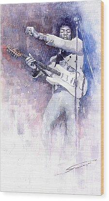 Jazz Rock Jimi Hendrix 07 Wood Print by Yuriy  Shevchuk