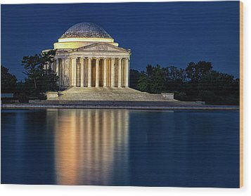 Jefferson Memorial At Twilight Wood Print by Andrew Soundarajan
