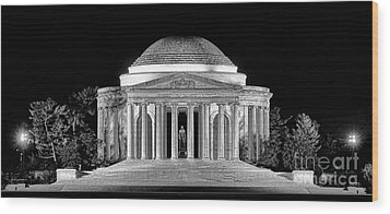 Jefferson Memorial Lonely Night Wood Print by Olivier Le Queinec