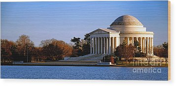 Jefferson Memorial Sunset Wood Print by Olivier Le Queinec