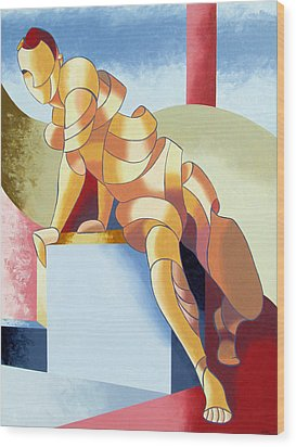 Jesse - Abstract Acrylic Figurative Painting Wood Print by Mark Webster