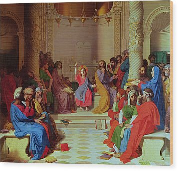 Jesus Among The Doctors Wood Print by Ingres