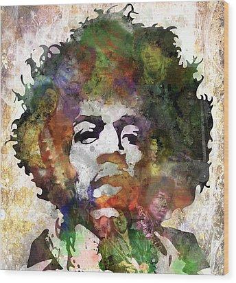 Jimi Hendrix Wood Print by Bobby Zeik