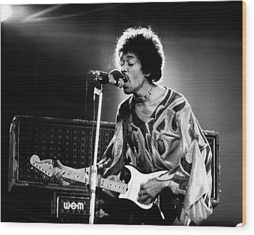 Jimi Hendrix Live Halo 1970 Wood Print by Chris Walter
