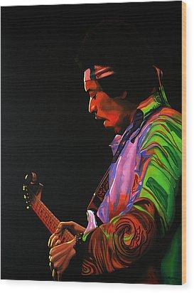 Jimi Hendrix Painting 4 Wood Print by Paul Meijering