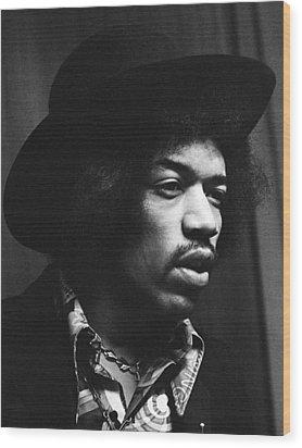 Jimi Hendrix Profile 1967 Wood Print by Chris Walter
