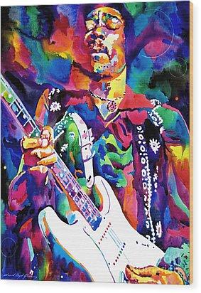 Jimi Hendrix Purple Wood Print by David Lloyd Glover