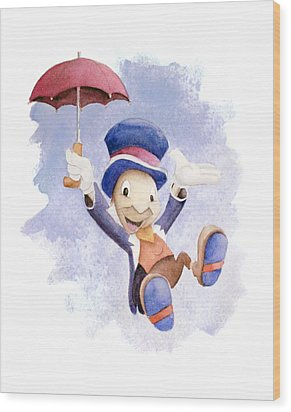 Jiminy Cricket With Umbrella Wood Print by Andrew Fling