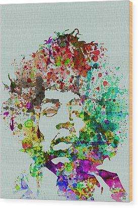 Jimmy Hendrix Watercolor Wood Print by Naxart Studio