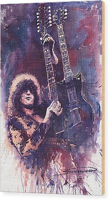 Jimmy Page  Wood Print by Yuriy  Shevchuk