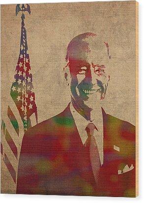 Joe Biden Watercolor Portrait Wood Print by Design Turnpike
