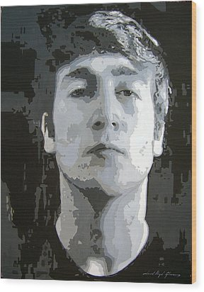 John Lennon - Birth Of The Beatles Wood Print by David Lloyd Glover