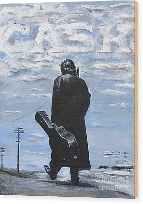 Johnny Cash - Going To Jackson Wood Print by Eric Dee