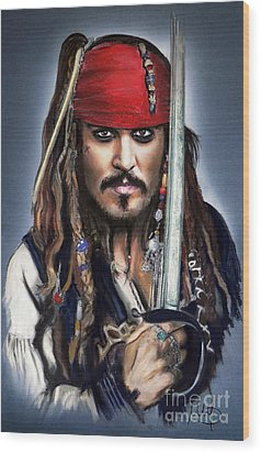 Johnny Depp As Jack Sparrow Wood Print by Melanie D