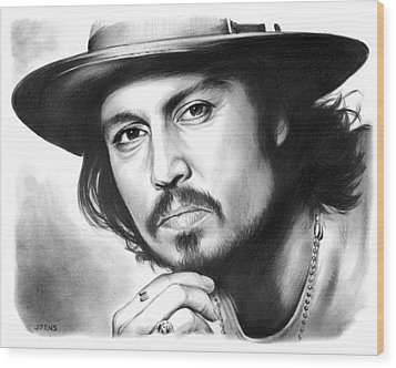 Johnny Depp Wood Print by Greg Joens