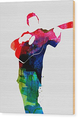 Johnny Watercolor Wood Print by Naxart Studio