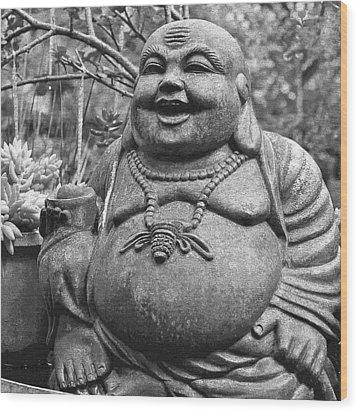 Joyful Lord Buddha Wood Print by Karon Melillo DeVega