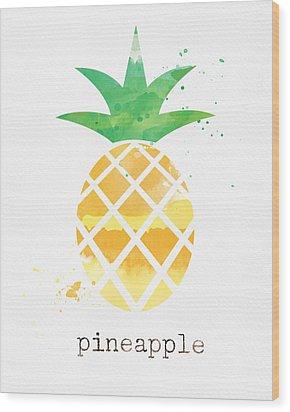 Juicy Pineapple Wood Print by Linda Woods