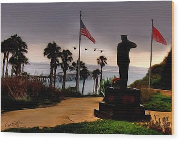 July 4th San Clemente Flyover Wood Print by Barbara Radcliffe