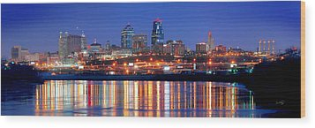 Kansas City Missouri Skyline At Night Wood Print by Jon Holiday