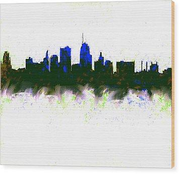 Kansas City Skyline Blue  Wood Print by Enki Art