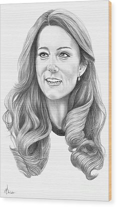Kate Middleton Catherine Duchess Of Cambridge Wood Print by Murphy Elliott