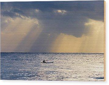 Kayak At Dawn Wood Print by Mike  Dawson