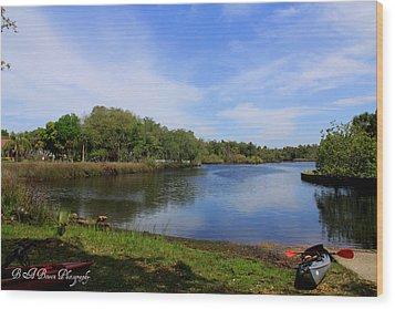 Kayaking The Cotee River Wood Print by Barbara Bowen