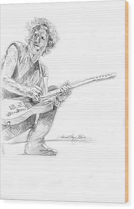 Keith Richards  Fender Telecaster Wood Print by David Lloyd Glover