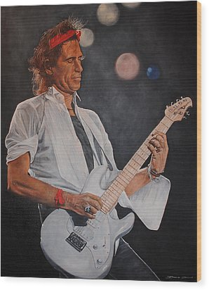 Keith Richards Live Wood Print by David Dunne