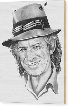 Keith Richards Wood Print by Murphy Elliott