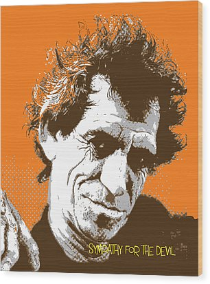 Keith Richards - Pop Art Portrait Wood Print by Martin Deane