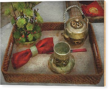 Kettle - Formal Tea Ceremony Wood Print by Mike Savad
