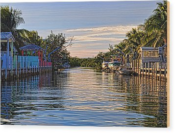 Key Largo Canal Wood Print by Chris Thaxter