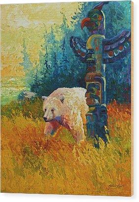 Kindred Spirits - Kermode Spirit Bear Wood Print by Marion Rose