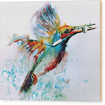 Kingfisher Wood Print by Steven Ponsford