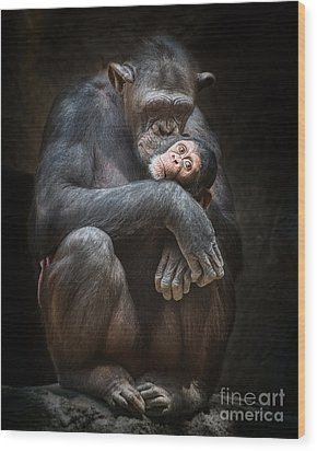 Kiss From Mom Wood Print by Jamie Pham