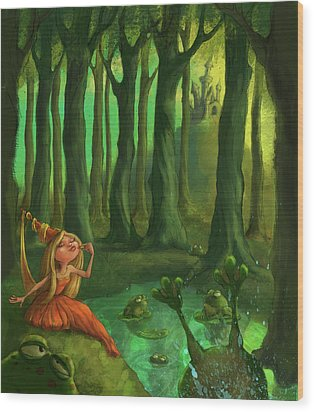 Kissing Frogs Wood Print by Andy Catling