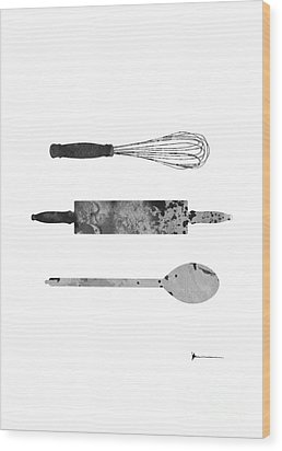Kitchen Utensils Set Kitchen Decor Wood Print by Joanna Szmerdt