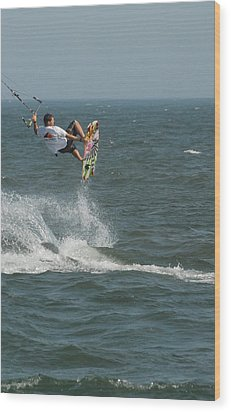Kite Surfing 8 Wood Print by Joyce StJames