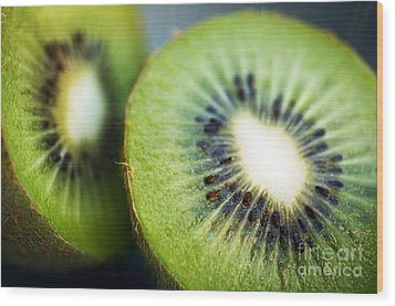 Kiwi Fruit Halves Wood Print by Ray Laskowitz - Printscapes