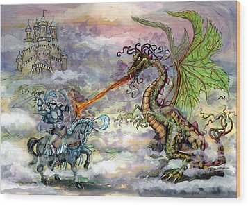 Knights N Dragons Wood Print by Kevin Middleton