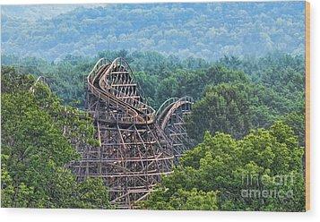 Knobels Wooden Roller Coaster  Wood Print by Paul Ward