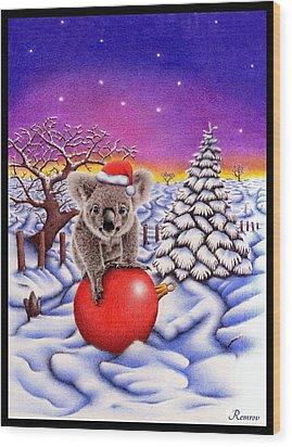 Koala On Ball Wood Print by Remrov