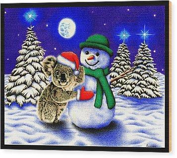 Koala With Snowman Wood Print by Remrov