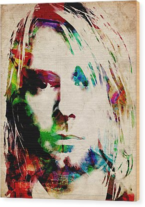 Kurt Cobain Urban Watercolor Wood Print by Michael Tompsett