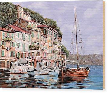 La Barca Rossa Alla Calata Wood Print by Guido Borelli
