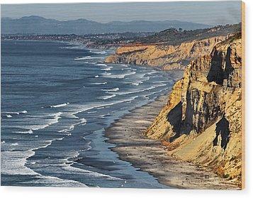 La Jolla Cliffs Over Blacks Wood Print by Russ Harris
