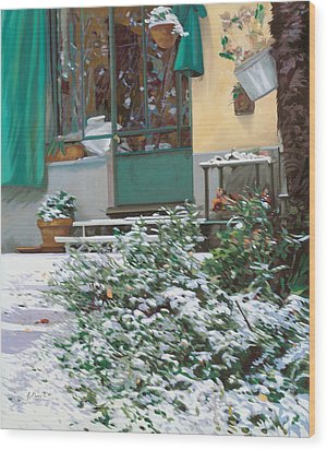 La Neve A Casa Wood Print by Guido Borelli